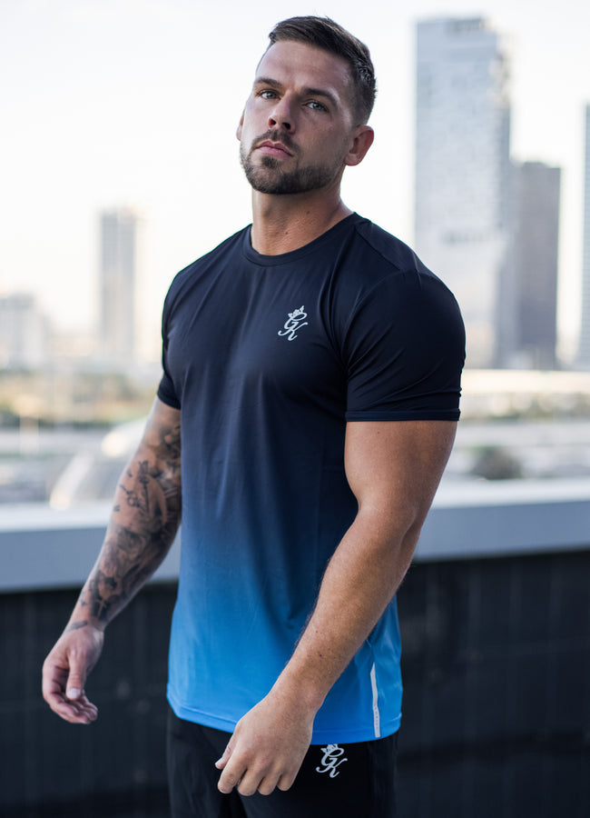 Gym King Sport Fade Poly Tee - Blue