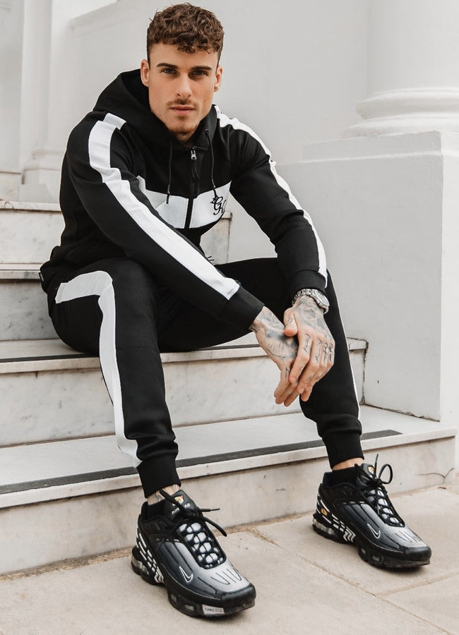 Gym King Retro Panel Poly Jogger - Black/White