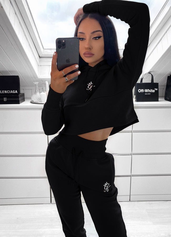 Gym King Sky Hooded Crop - Black