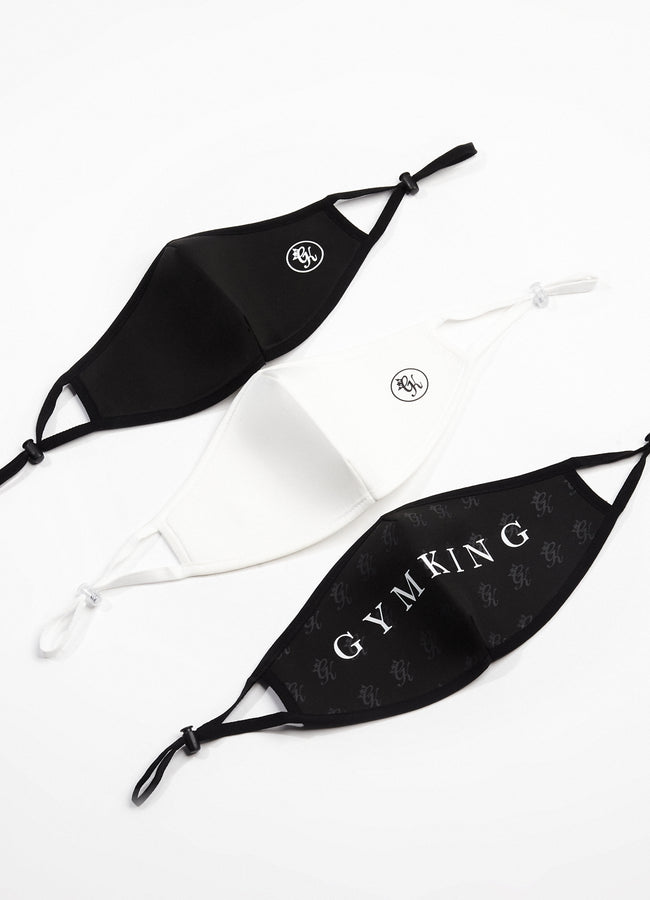 Gym King Nano Face Mask (3pk) - Black/White