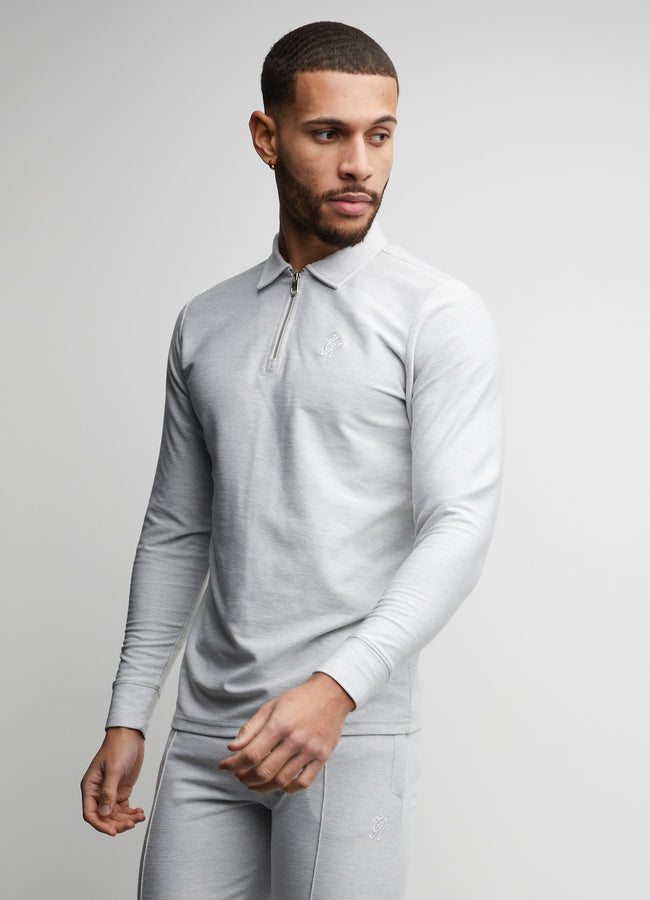 Gym King Mateo Ls Polo - Light Grey