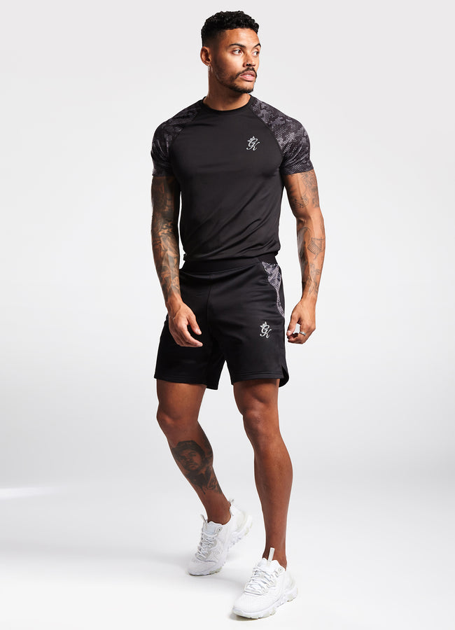 Gym King Sport Raglan Tee - Camo/Black