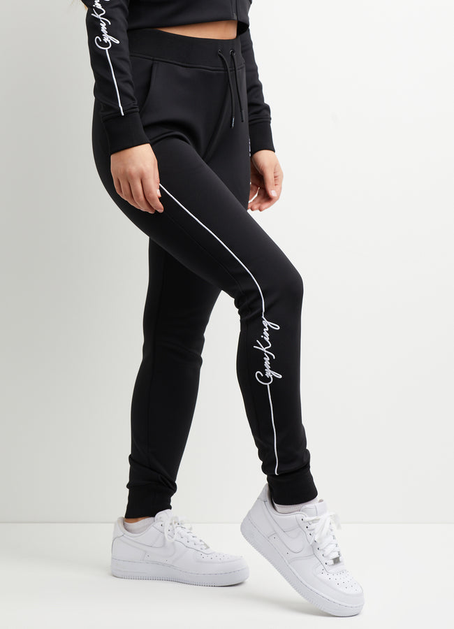 Gym King Piped Script Tracksuit Pant - Black