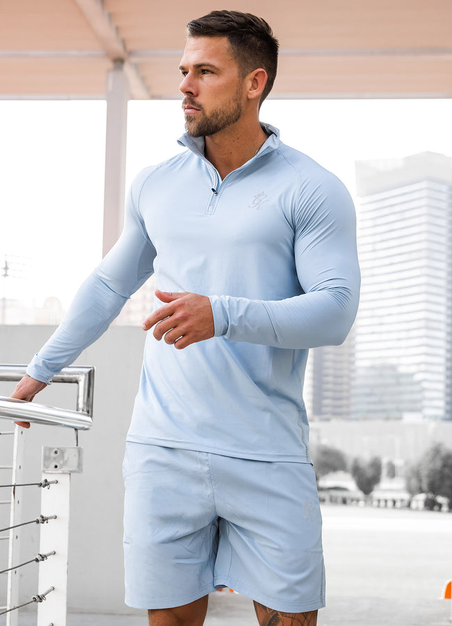Gym King Sport Race 1/4 Zip Funnel Neck - Light Blue