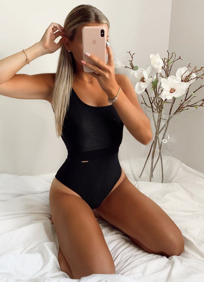 Gym King Ribbed Swimsuit - Black