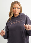 Gym King Script Boyfriend Hood - Slate/Peach