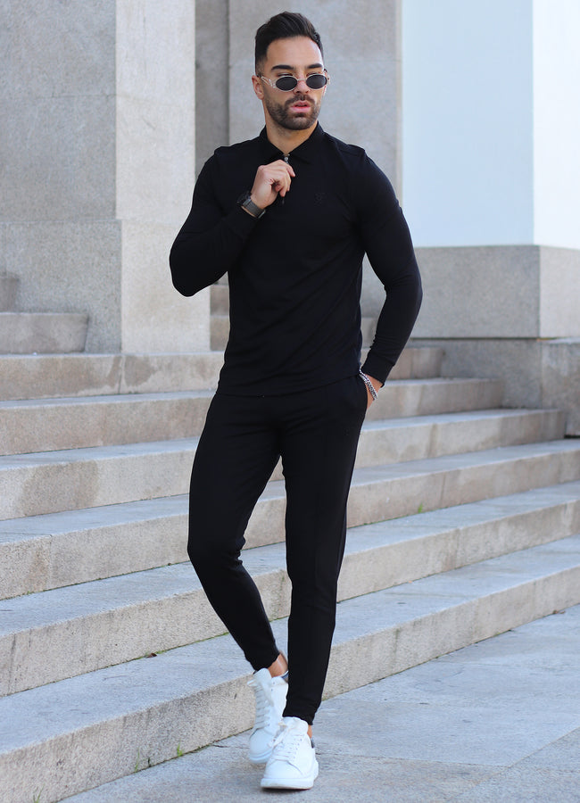 Gym King Signature LS Polo - Black