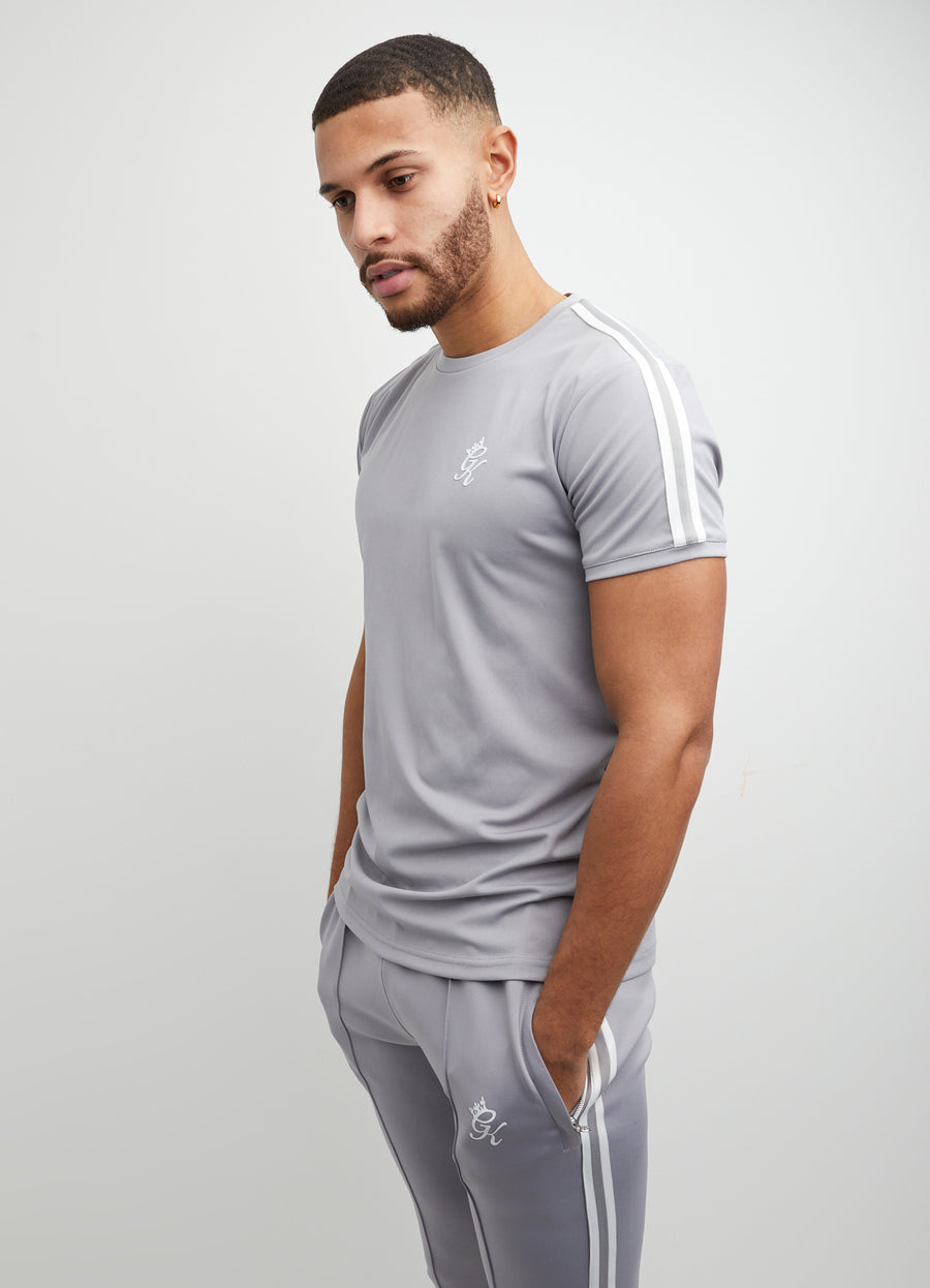 Gym King Taped Poly Tee - Silver Grey/White
