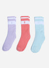 Gym King Womens Ryu Socks 3pk - Lilac/Mint/Deep Pink