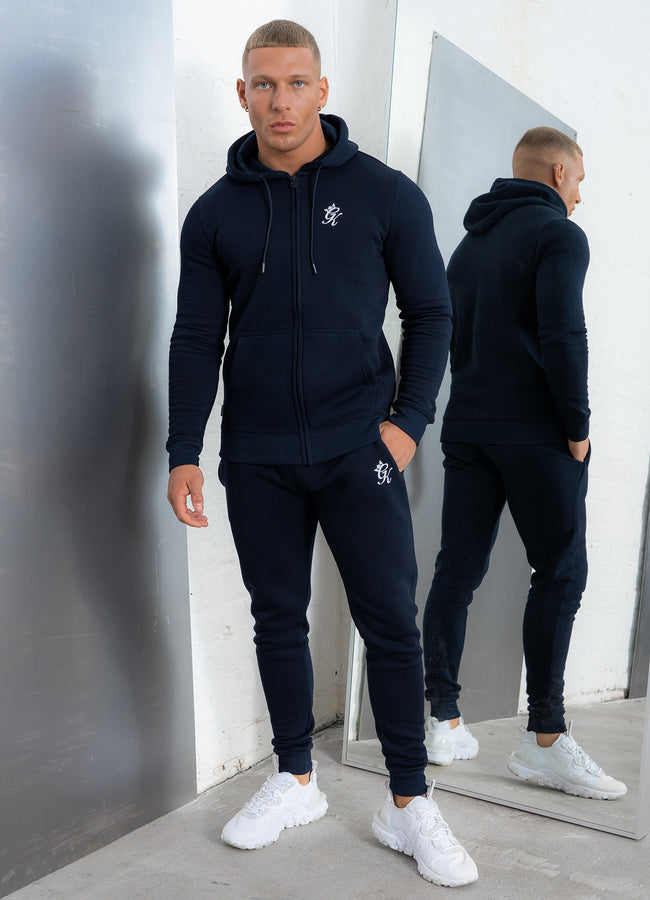 Gym King Basis Zip Through Hooded Top - Navy/White