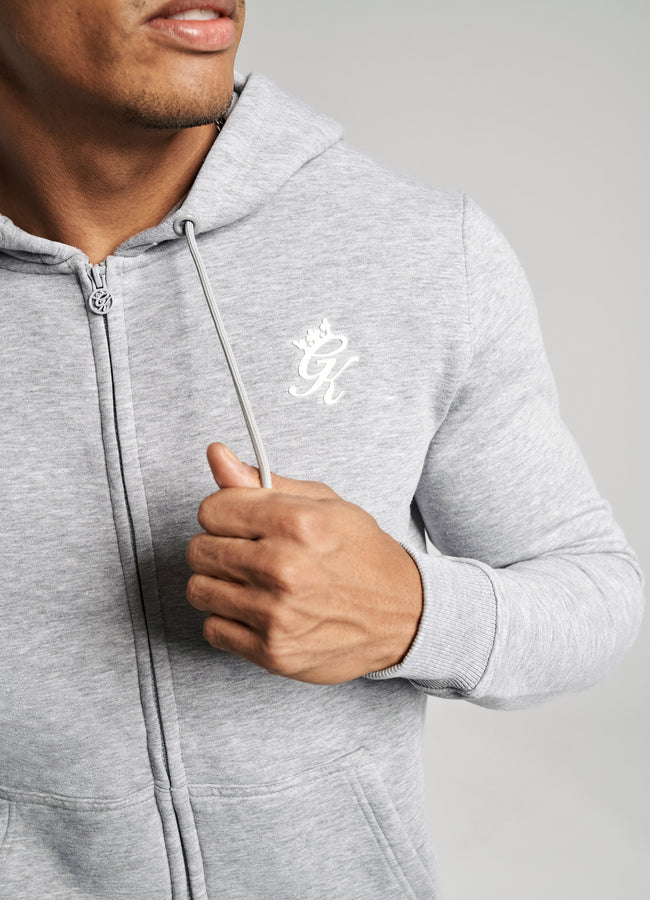 GK Basis Zip Through Hoodie - Grey Marl