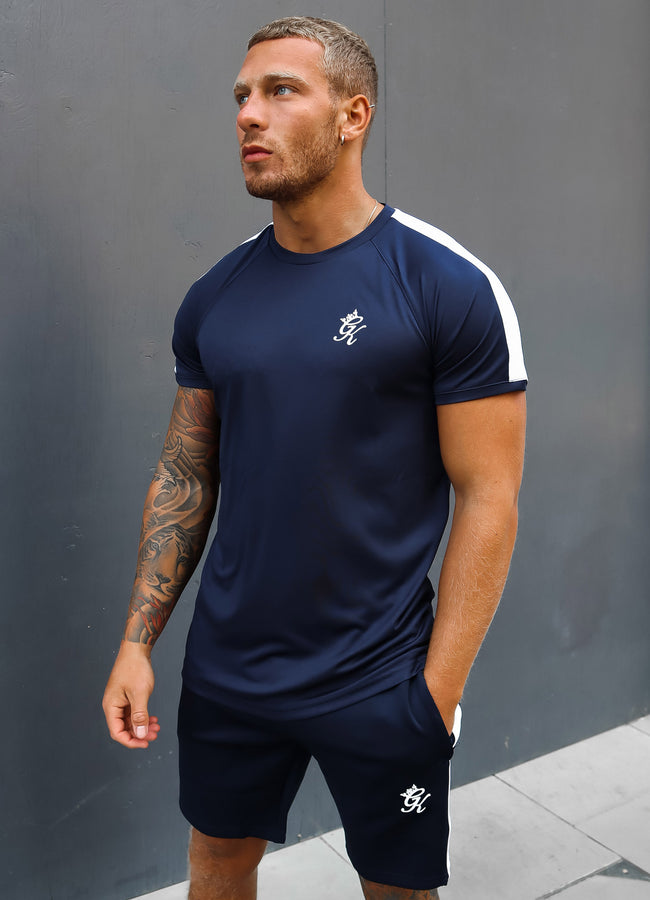 Gym King Core Plus Poly Tee - Navy/White
