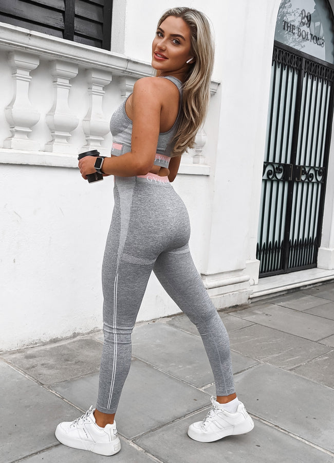 Gym King Sport Power Legging - Grey Marl/Coral