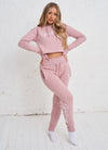 Gym King Sky Script Hooded Crop - Rose