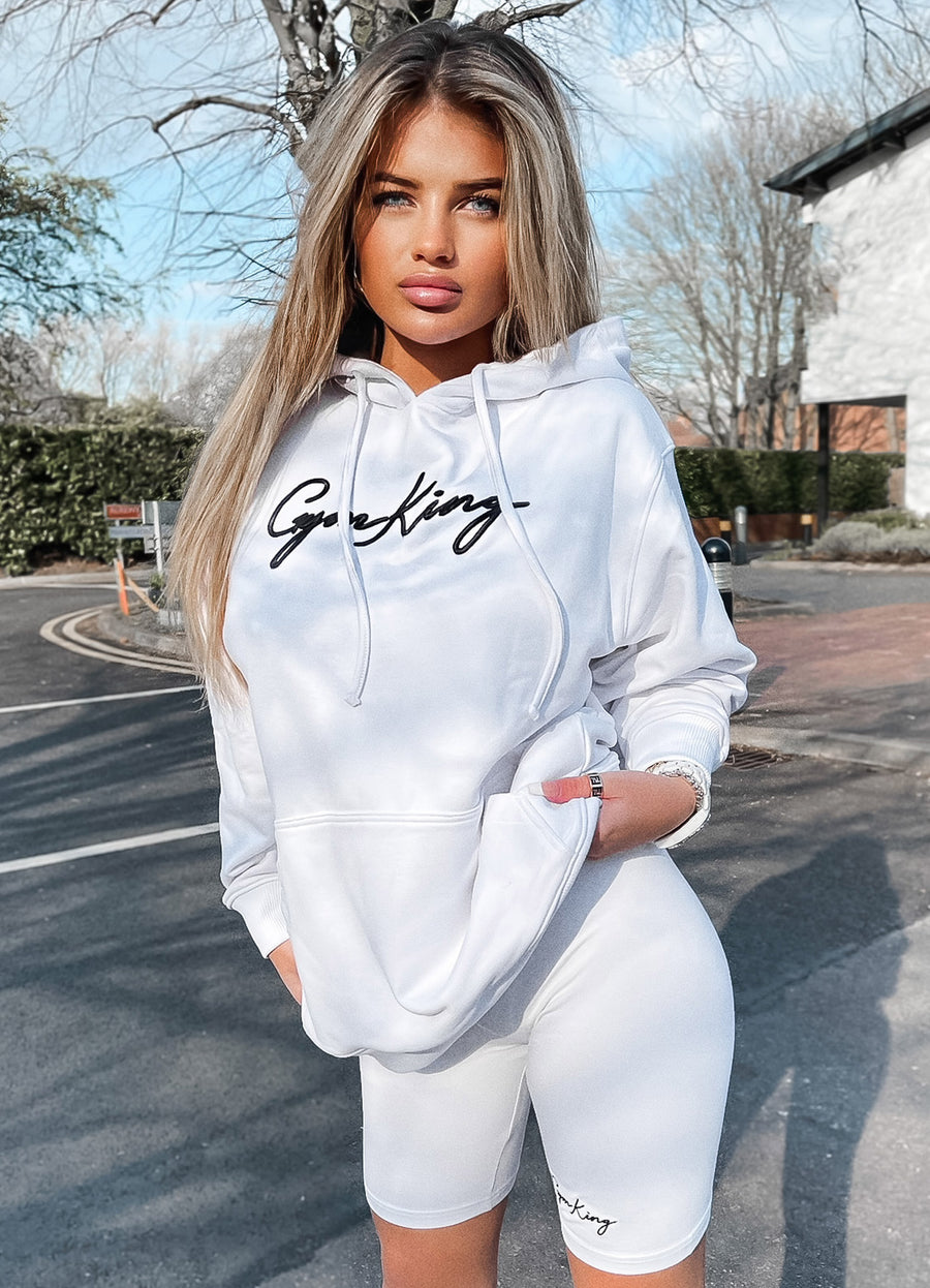 Gym King Script Oversized Hoodie - White