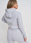 Gym King Sky Script Hooded Crop - Grey Marl/Rose