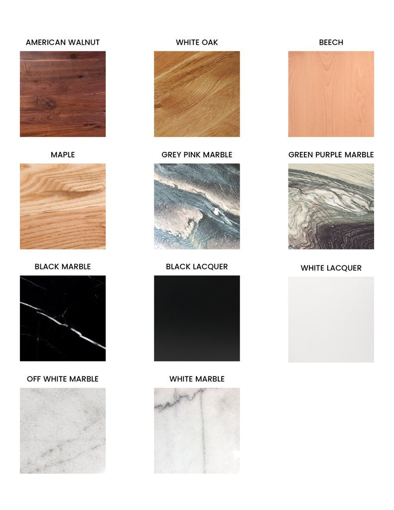 wood, lacquer and marble options