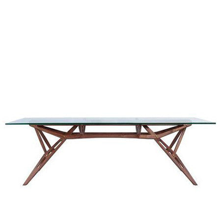 walnut dining table with glass table top