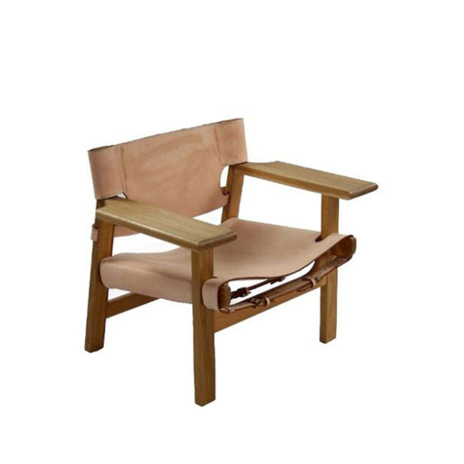 modern lounge chair with leather belt seat