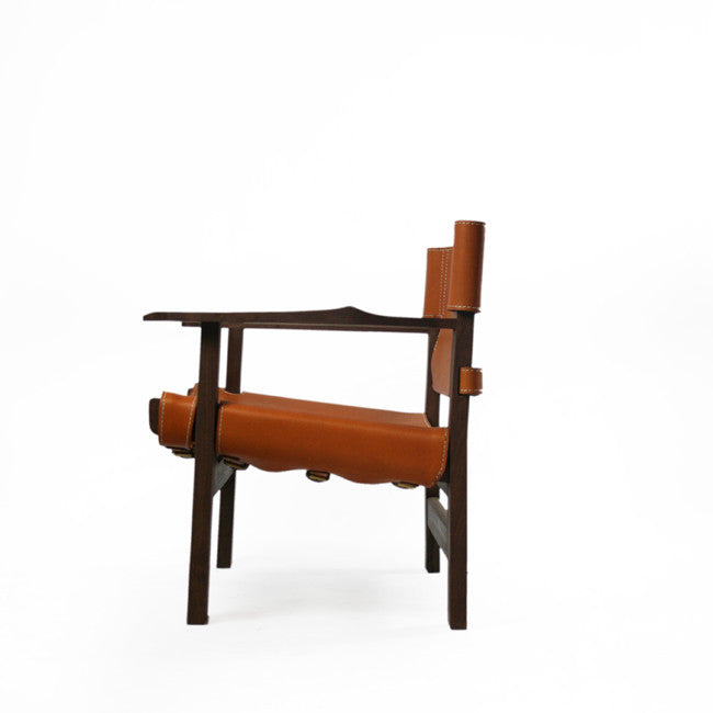 lounge chair with leather belt seat
