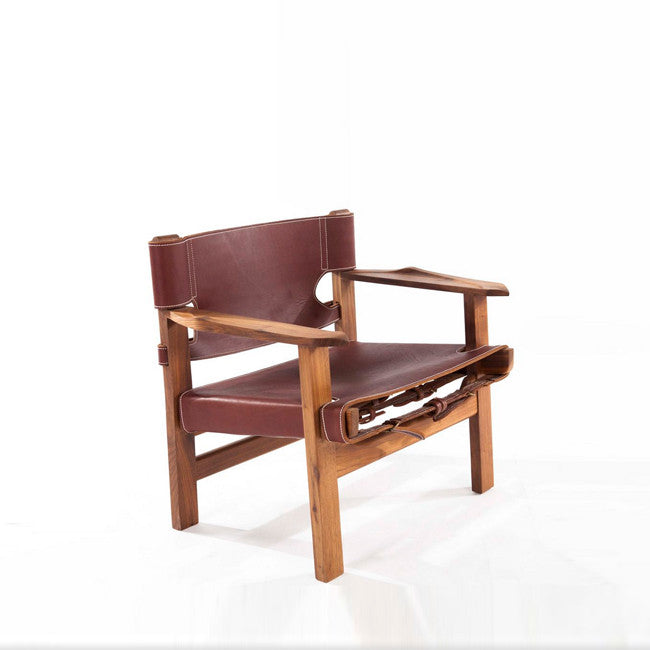 walnut chair with leather seat