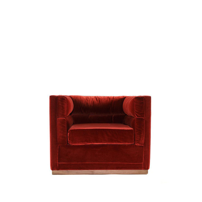 red velvet lounge chair