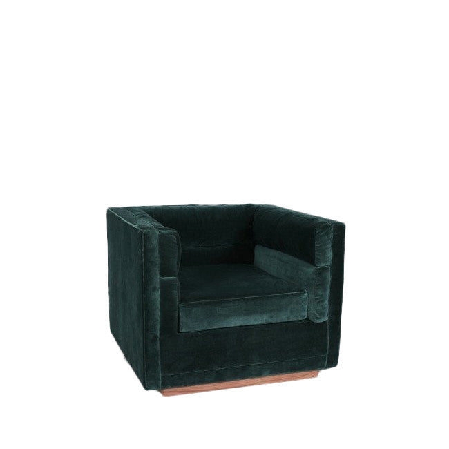 teal velvet fabric lounge chair