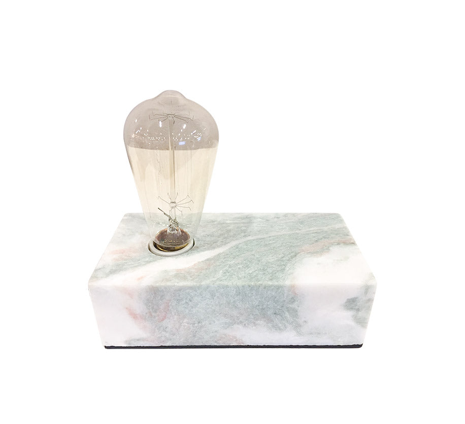 marble base box table lamp