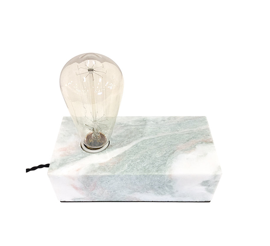 box shaped table lamp with marble base