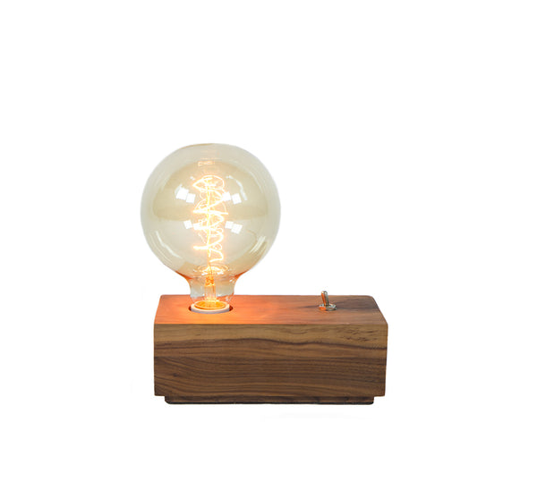 wood box table lamp