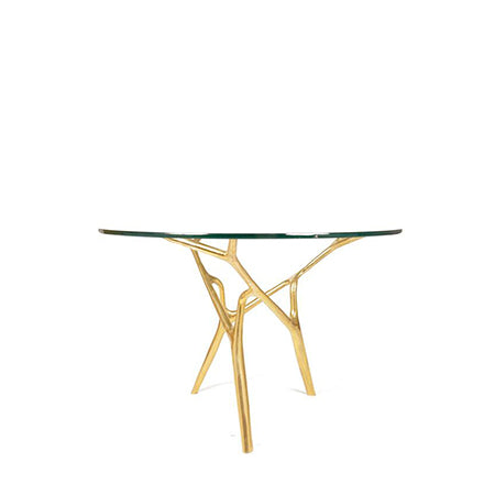 glass top bronze base dinner table