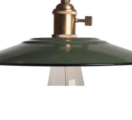 ceiling light with green enamel shade