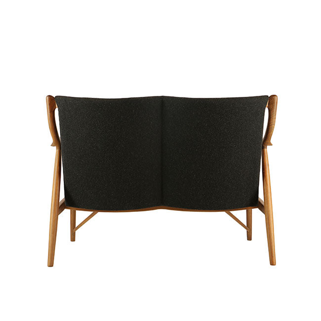 mid-century modern loveseat with charcoal fabric