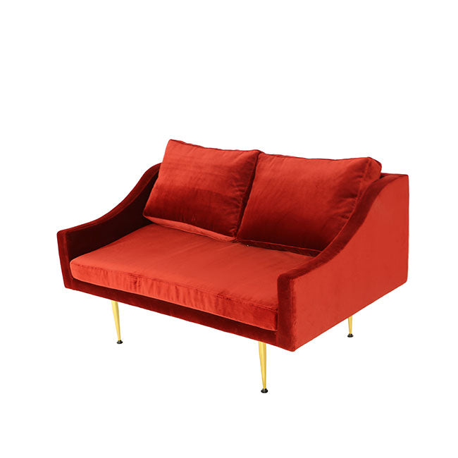 red velvet sofa with two seats