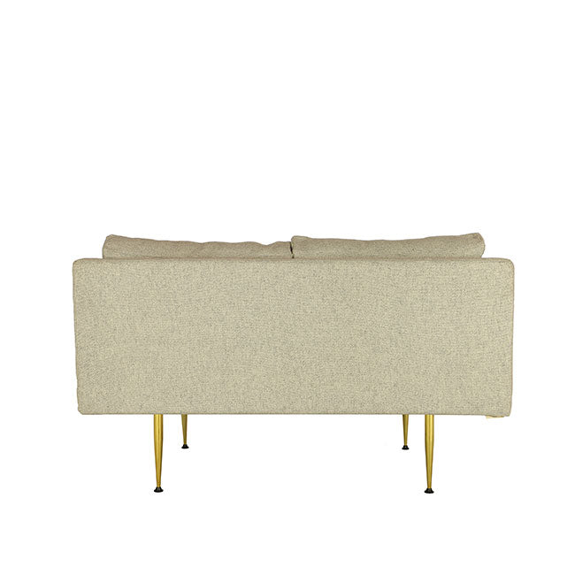 modern loveseat sofa with beige fabric
