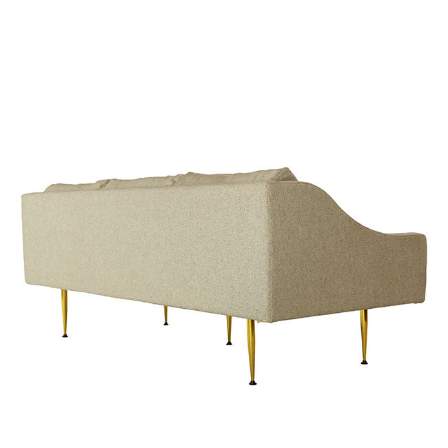 beige fabric 3 seats modern sofa