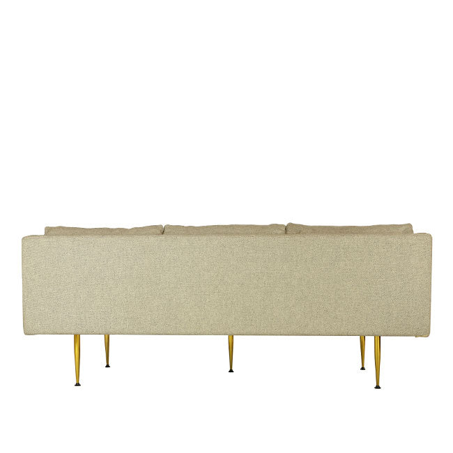modern sofa with beige fabric and brass legs
