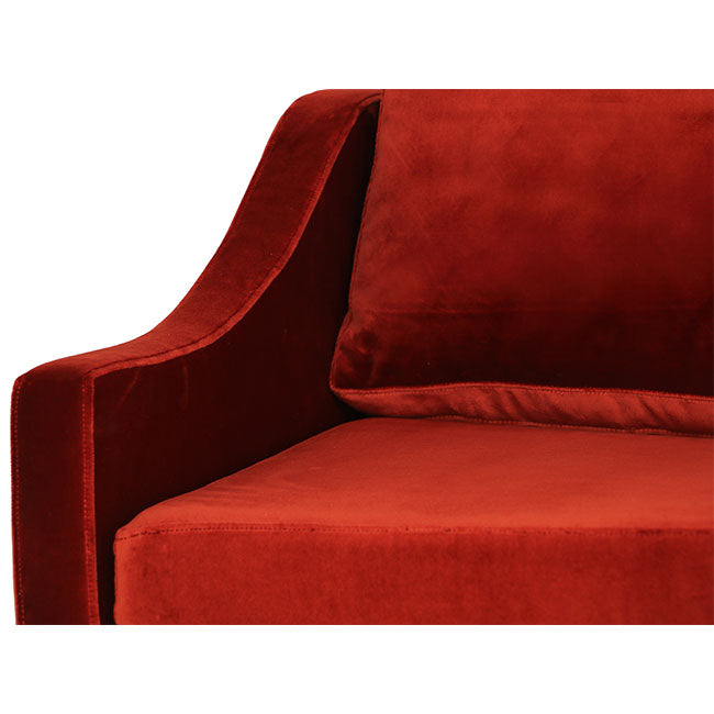red velvet modern 3 seats sofa