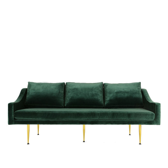 teal velvet modern three seats sofa