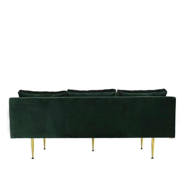 mid century modern sofa with teal velvet