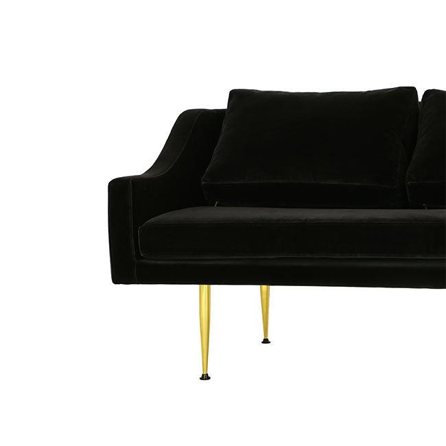 mid century modern four seat sofa with charcoal velvet