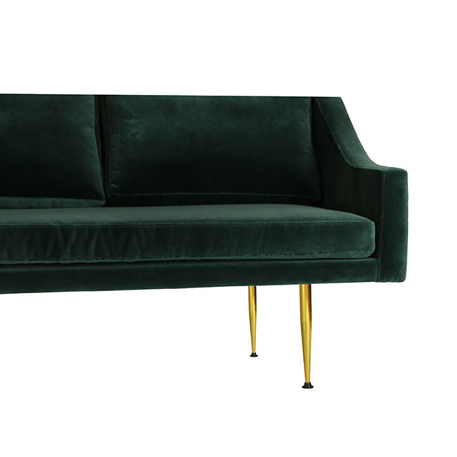 modern sofa with four seats and teal velvet