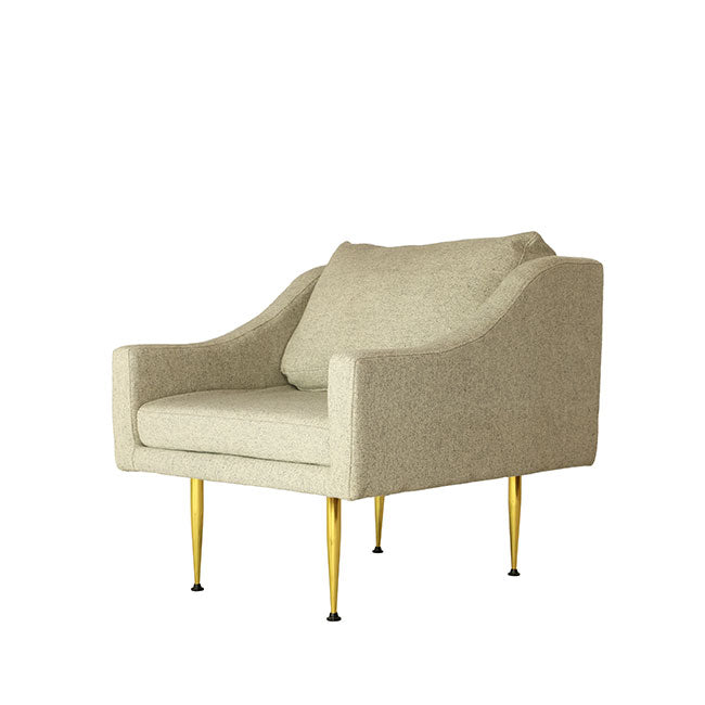 modern lounge armchair with beige fabric
