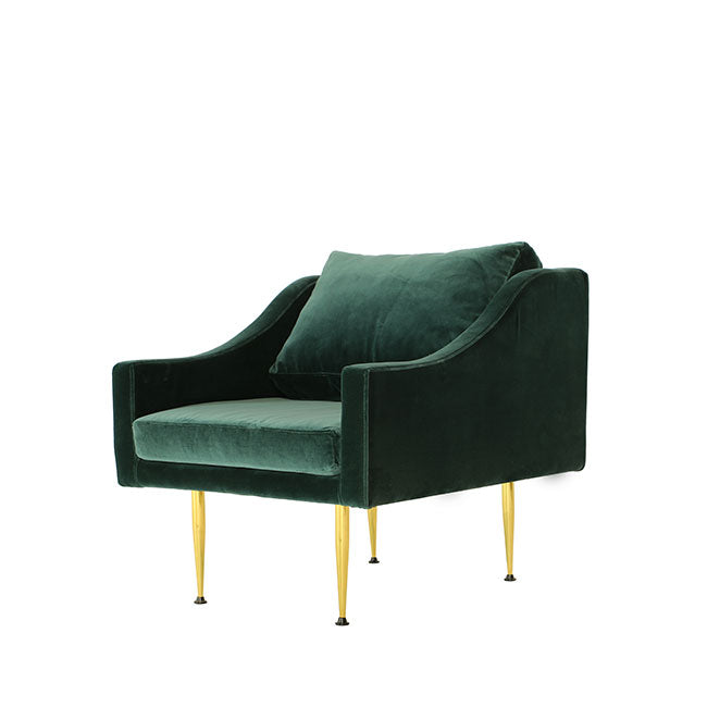 modern lounge chair with teal velvet
