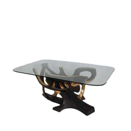 glass top bronze base dining table