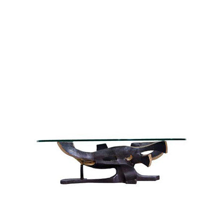 modern bronze glass top coffee table