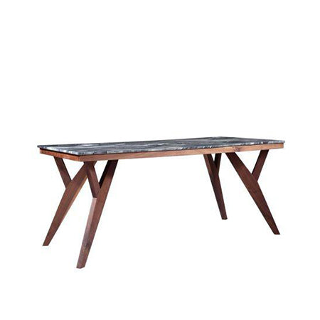 walnut base marble top modern dining table