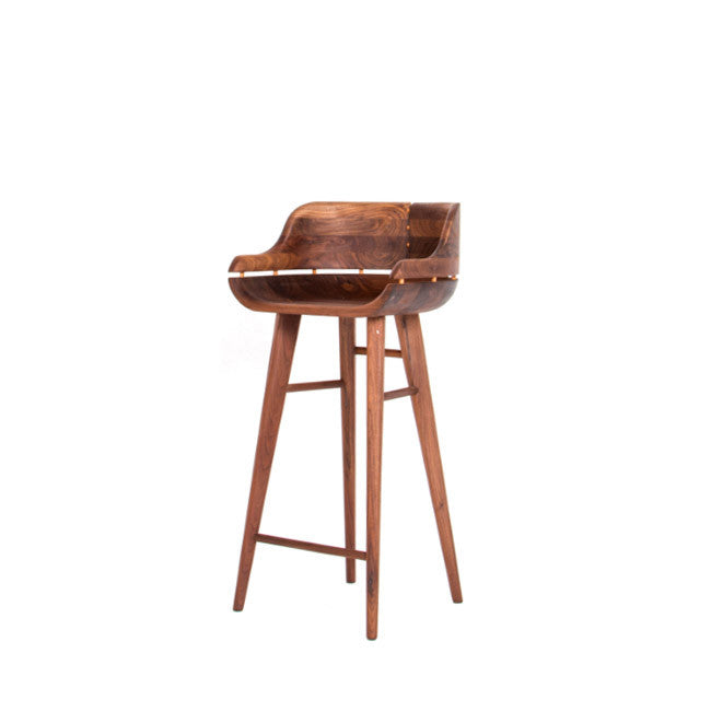 solid walnut wood bar stool