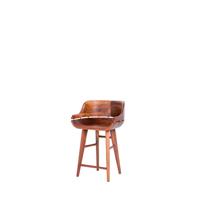 low profile walnut bar stool with a low back