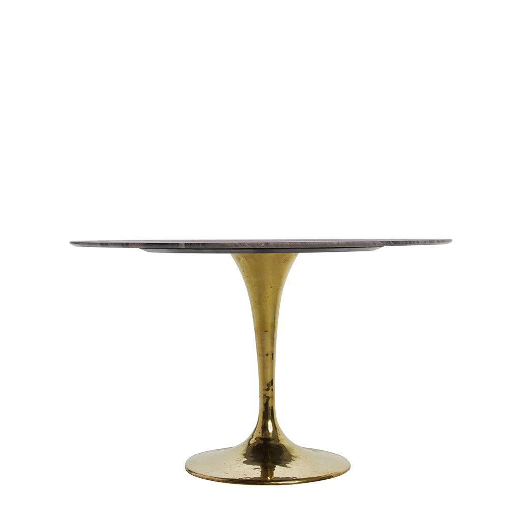 dining table with a shiny bronze base